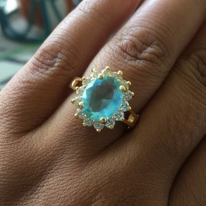 Gold topaz colored halo ring